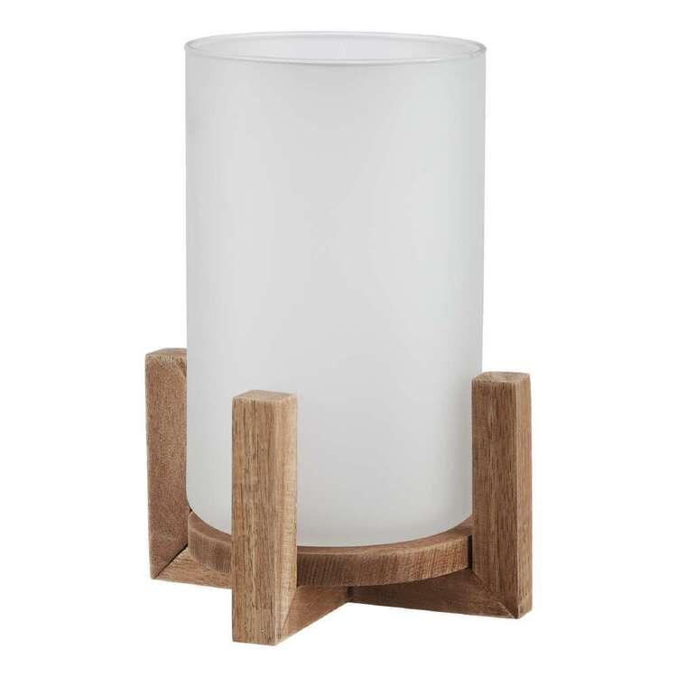 Bouclair Fall Blush Wood & Glass Candle Holder