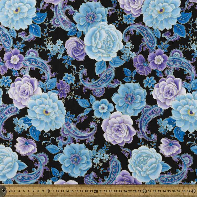 Timeless Treasures Paisley Floral Printed 112 cm Cotton Fabric
