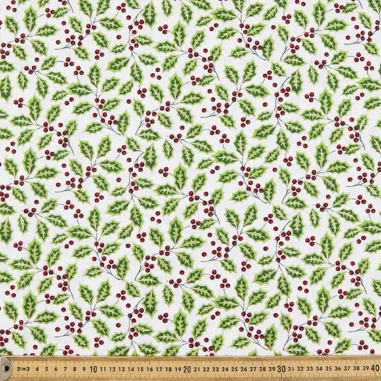 Holly Printed 112 cm Christmas Hollies Cotton Fabric