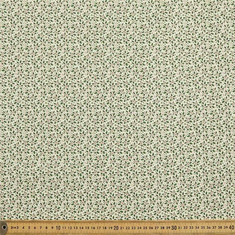Scandi Holly Spray Cotton Fabric