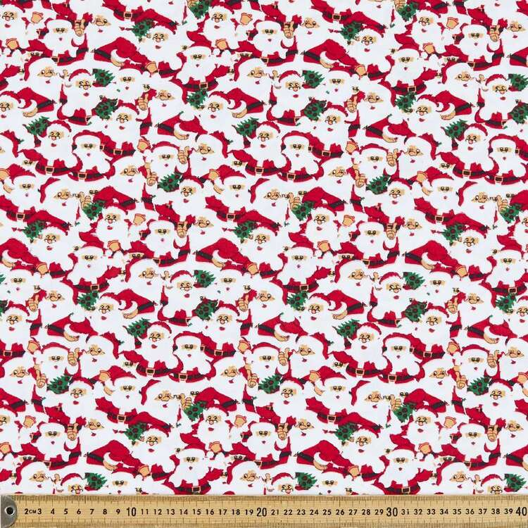 Christmas Lacquer Santa Face Printed 112 cm Cotton Fabric