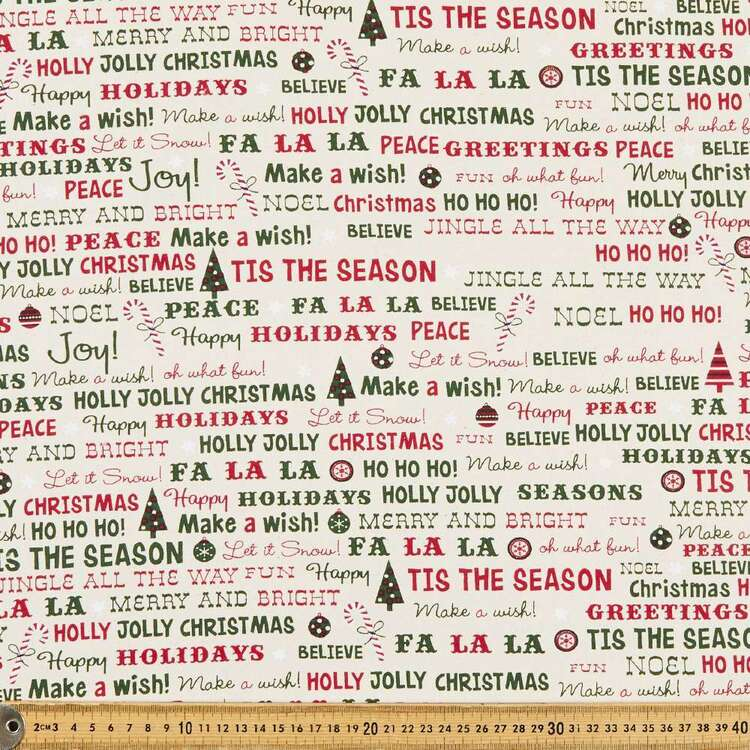 Christmas Lacquer Words Printed 112 cm Cotton Fabric
