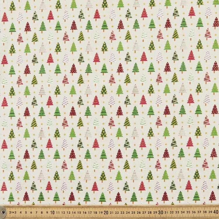 Osnaberg Christmas Trees Printed 112 cm Cotton Fabric
