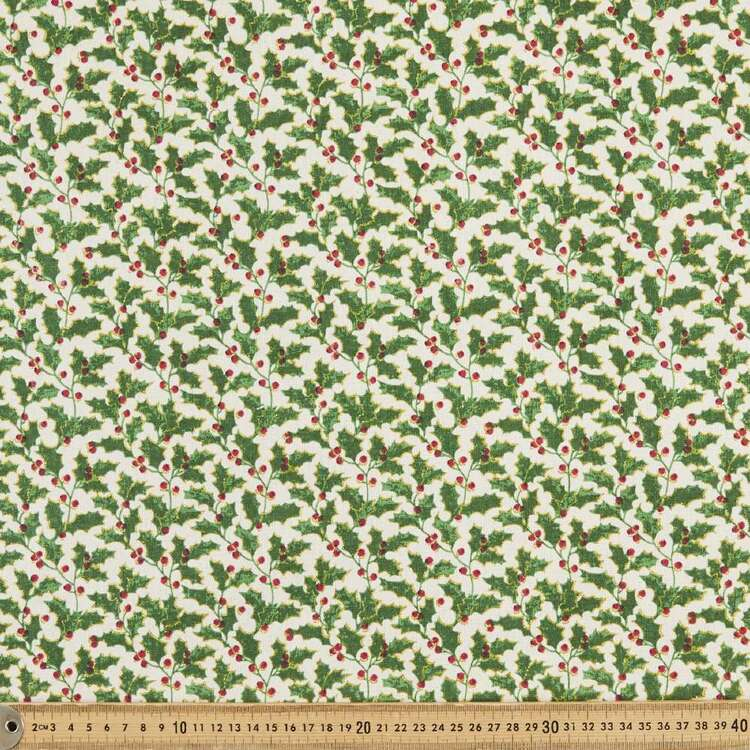 Osnaberg Christmas Holly Printed 112 cm Cotton Fabric