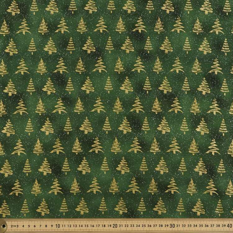 Tree Printed 112 cm Metallicus Christmas Cotton Fabric