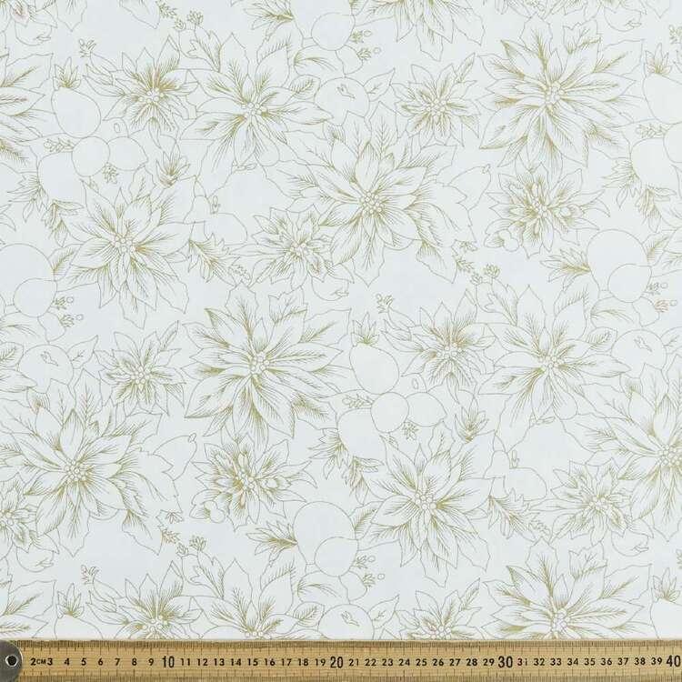 Metallic Christmas Poinsettia Cotton Fabric