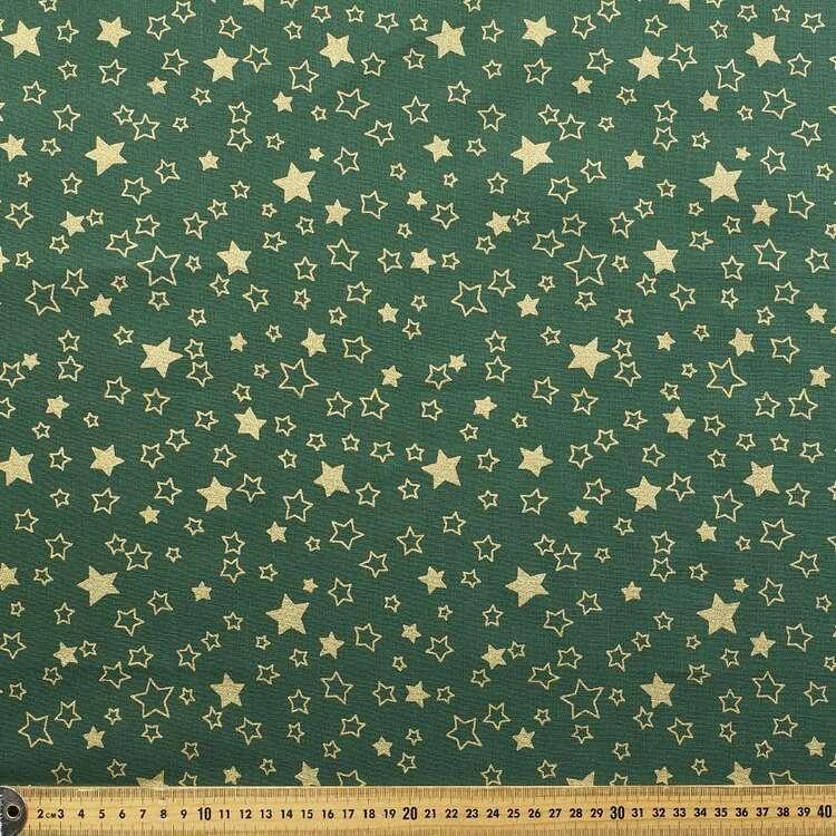 Metallic Christmas Big Stars Printed 112 cm Cotton Fabric