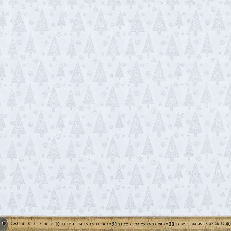 Metallic Christmas Scandi Tree Printed 112 cm Cotton Fabric