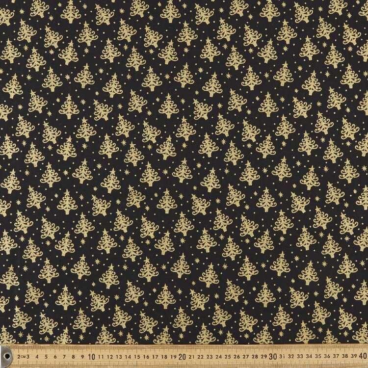 Metallic Christmas Tiny Trees Printed 112 cm Cotton Fabric