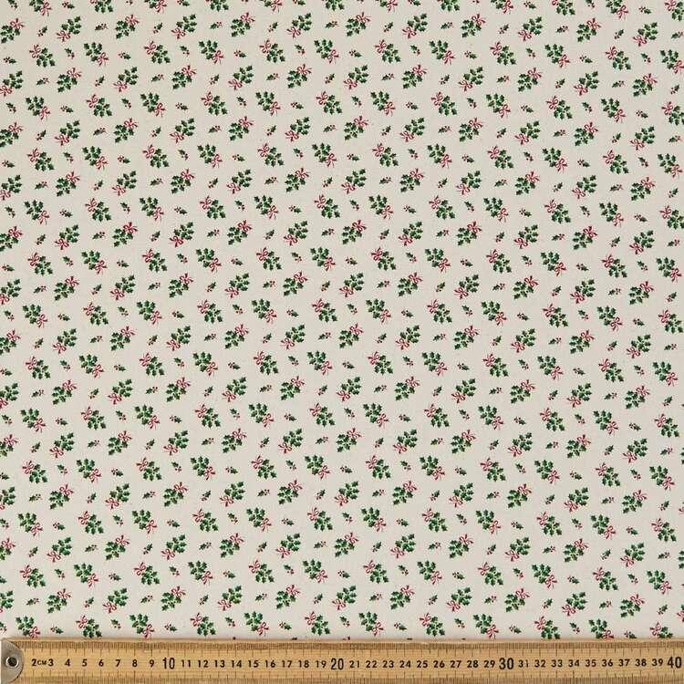 Scandi Christmas Holy Sprig Printed 112 cm Cotton Fabric
