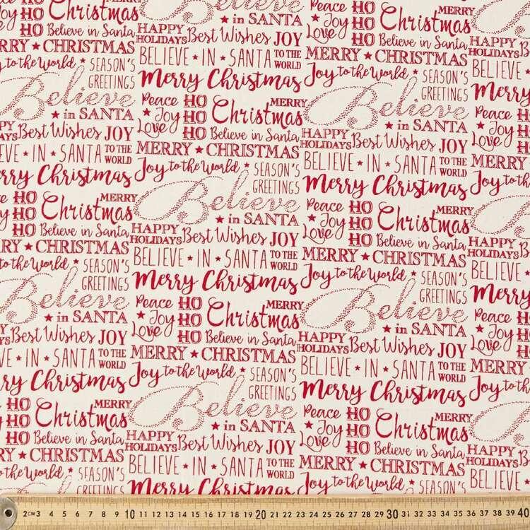 Scandi Christmas Words Printed 112 cm Cotton Fabric