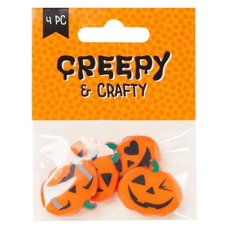 Pumpkin Emojis Halloween Buttons 4 Pack