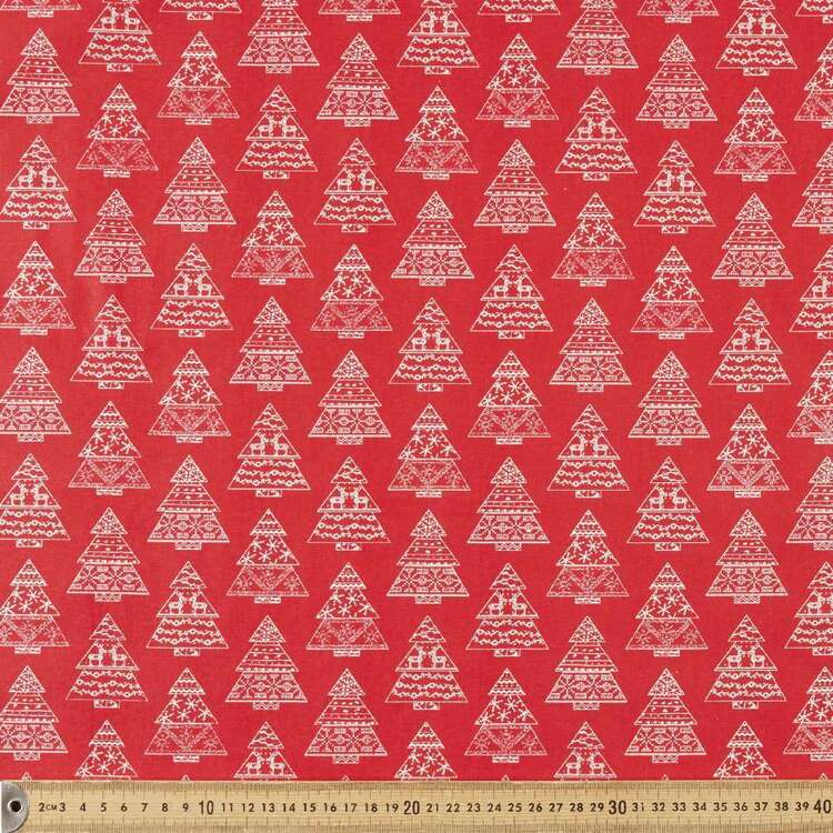 Scandi Christmas Nordic Tree Printed 112 cm Cotton Fabric