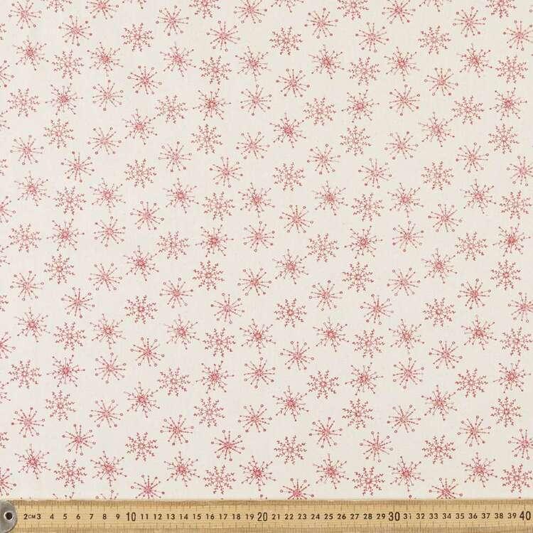 Scandi Christmas Large Snowflake Printed 112 cm Cotton Fabric