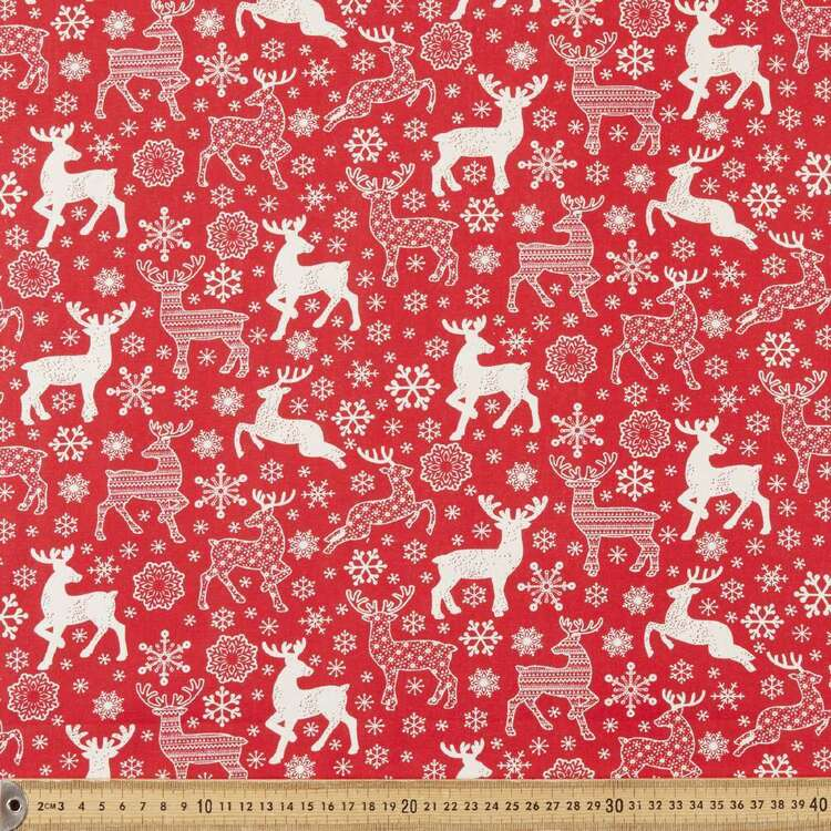 Scandi Christmas Large Deer Printed 112 cm Cotton Fabric
