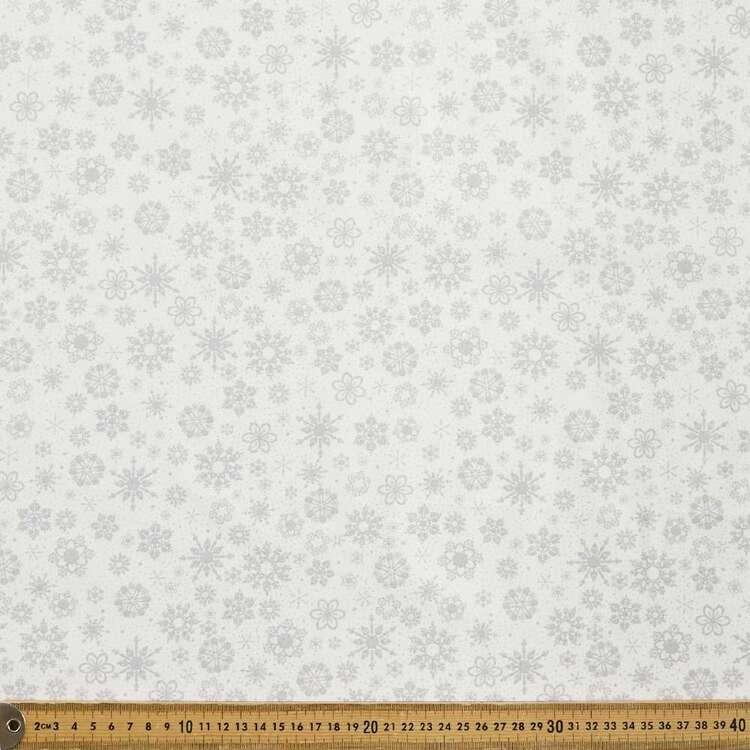 Snowflake Printed 112 cm Glitter Christmas Cotton Blender Fabric