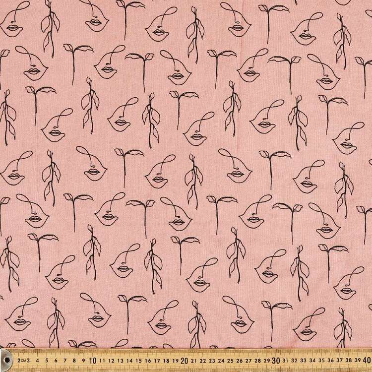 Faces Printed 148 cm Cotton Rayon French Terry Fleece Fabric