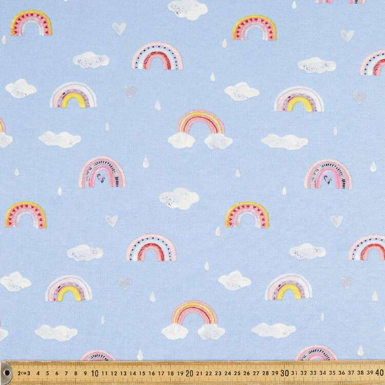 Rainbows Printed 148 cm Cotton Rayon French Terry Fleece Fabric