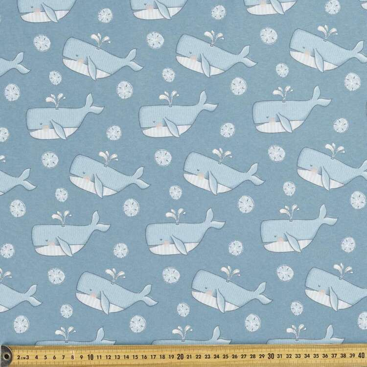 Happy Whales Printed 112 cm Organic Cotton Jersey Fabric
