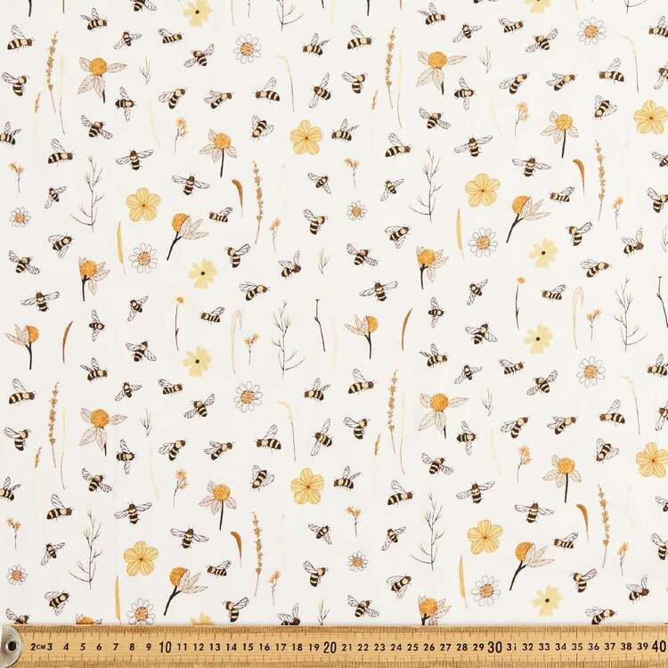 Bee and Daisy Printed 112 cm Organic Cotton Jersey Fabric