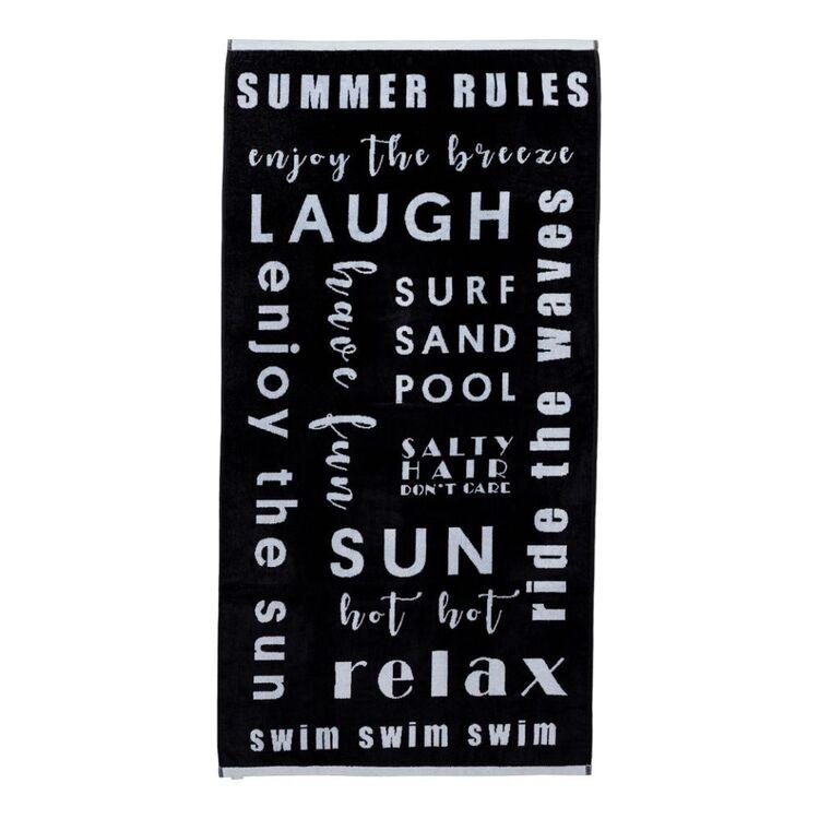Logan & Mason Jacquard Black Beach Towel