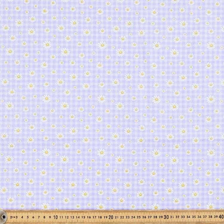 Daisy Check Printed 112 cm Sparkle Cotton Poplin Fabric