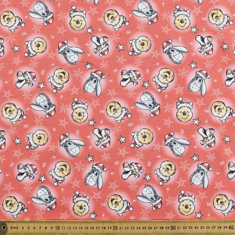 Disney Winnie The Pooh Christmas Allover Cotton Fabric