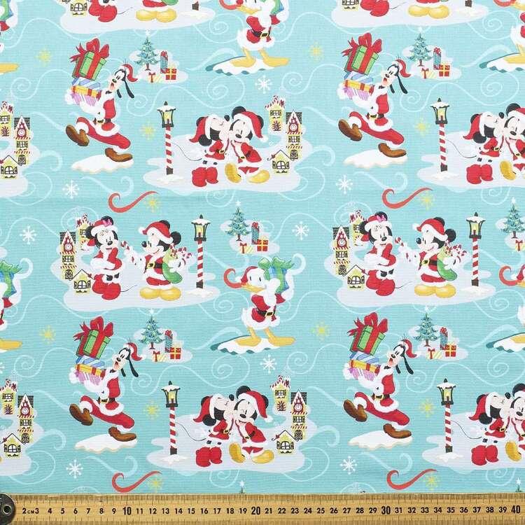 Disney Mickey Mouse Christmas Village Cotton Fabric