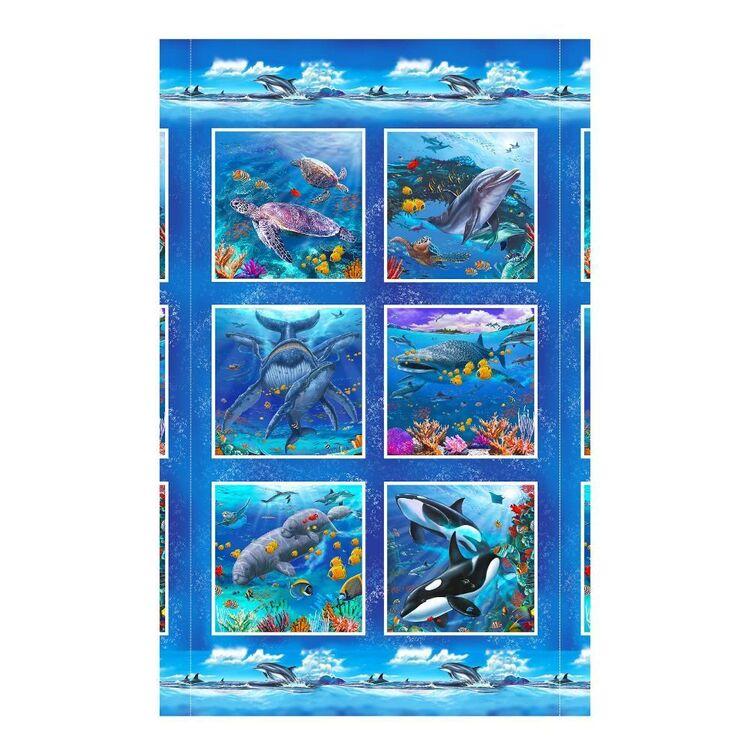Studio E Reef Life Ocean Animal Printed 60 cm x 112 cm Cotton Block Panel
