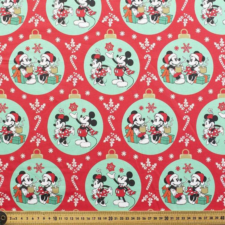 Disney Mickey Mouse Mickey & Minnie Baubles Cotton Fabric
