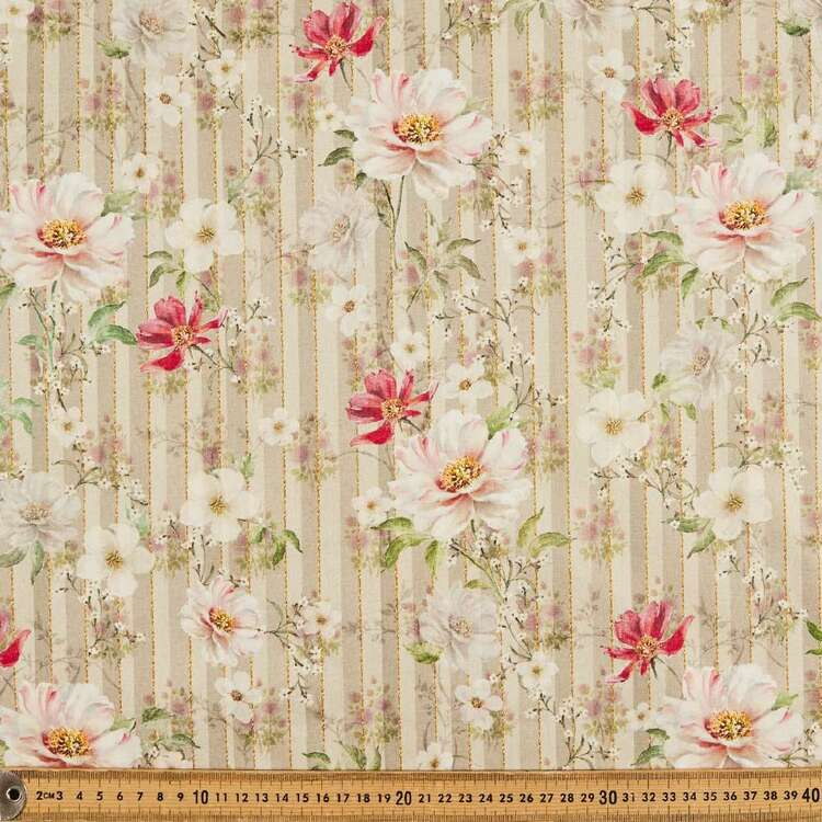 Floral Stripe Digital Printed 142 cm Combed Cotton Sateen Fabric
