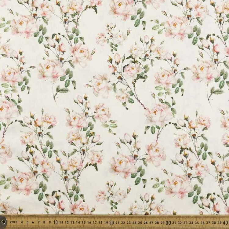 Rose Trellis Digital Printed 142 cm Combed Cotton Sateen Fabric