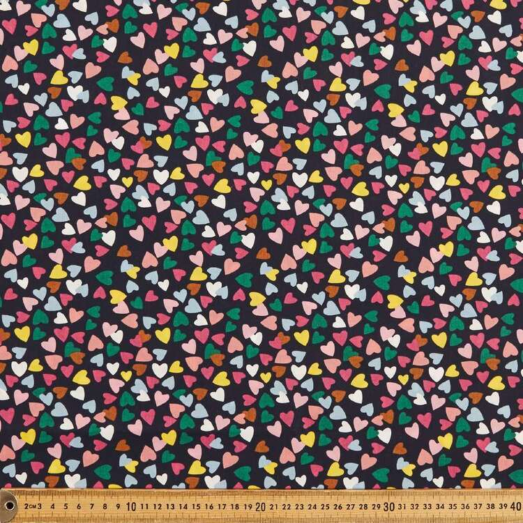Mix N Match TC Hearts Printed 112 cm Poly Cotton Poplin Fabric