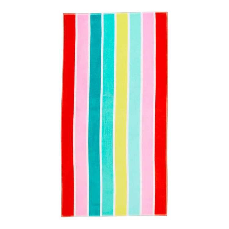 KOO Rainbow Stripe Beach Towel
