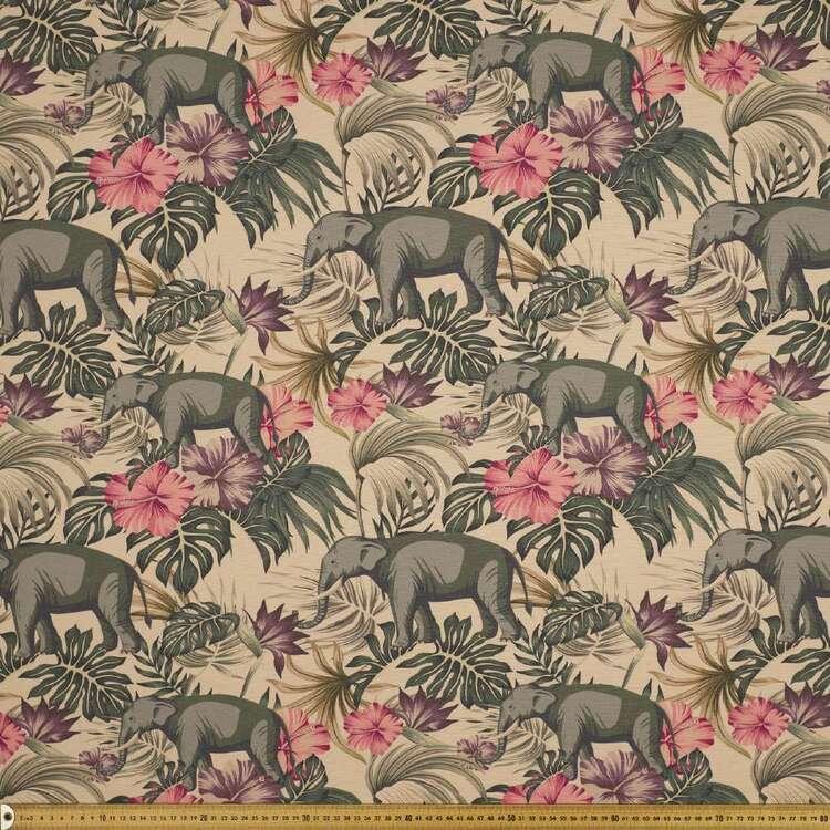 Elephant Jungle 150 cm Linen Look Canvas Fabric