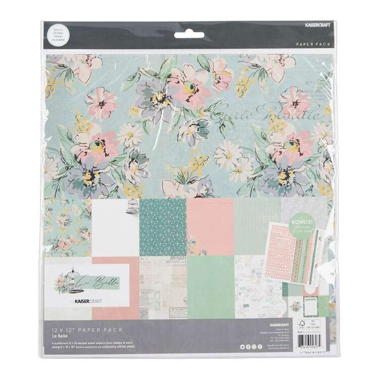 Kaisercraft 12 x 12 in Le Belle Paper Pack with Stickers