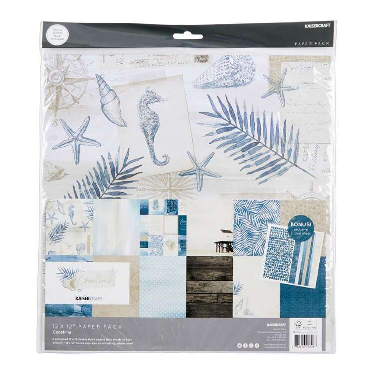 Kaisercraft 12 x 12 in Coastline Paper Pack with Stickers