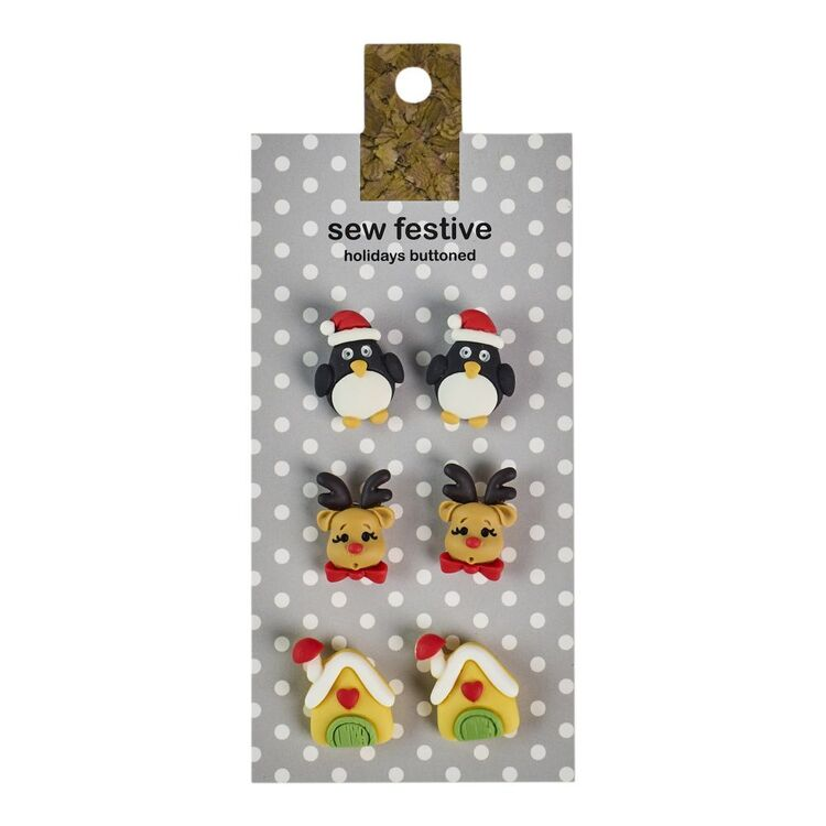 Sew Festive Penguin, Rudolph & House Christmas Buttons 6 Pack