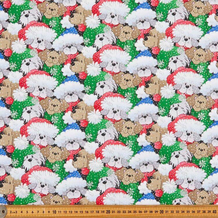 Christmas Dog Heads Printed 112 cm Cotton Fabric