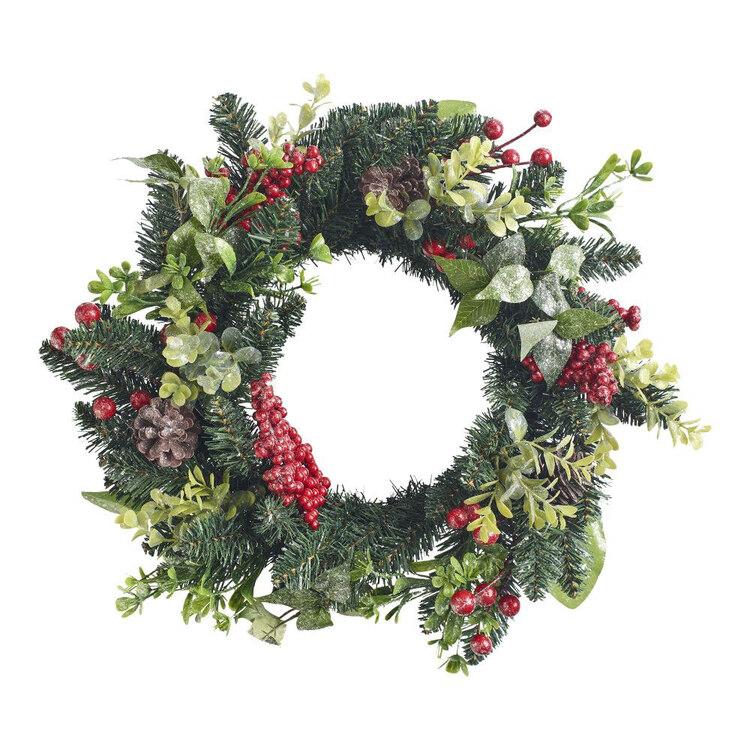 Living Space Festive 45 cm Berry & Pinecone Christmas Wreath