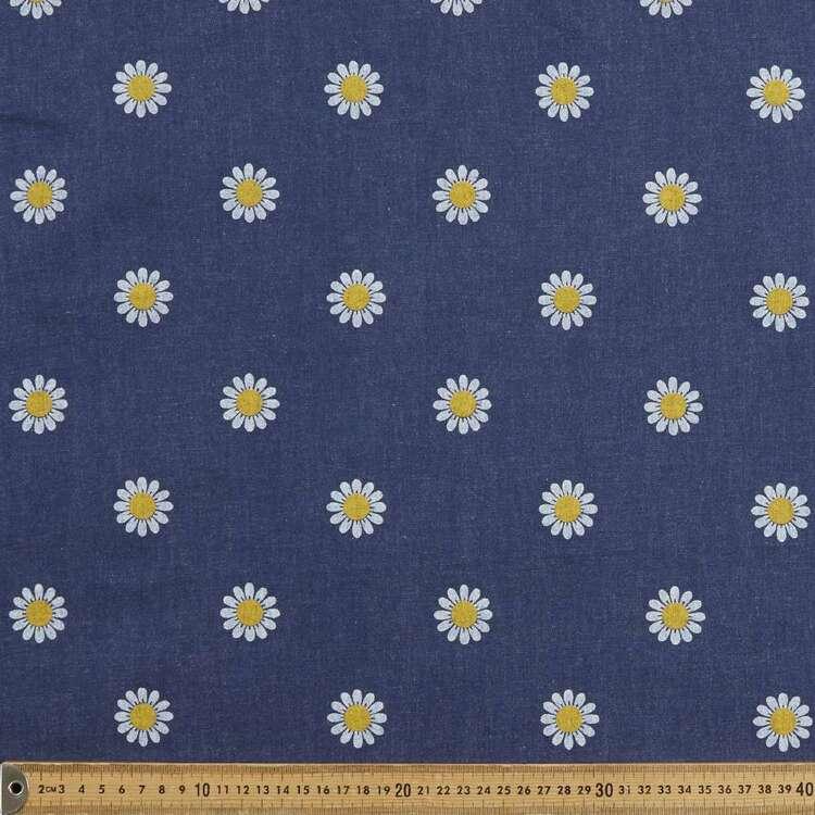 Big Daisy Printed 142 cm Denim Fabric