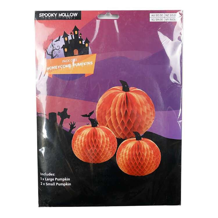 Spooky Hollow Honeycomb Pumpkins 3 Pack