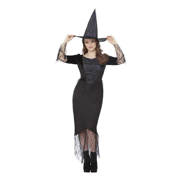 Spooky Hollow Deluxe Adult Black Lace Witch Dress