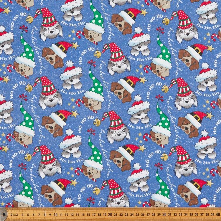 Christmas Glitter Dog Faces Printed 112 cm Cotton Fabric