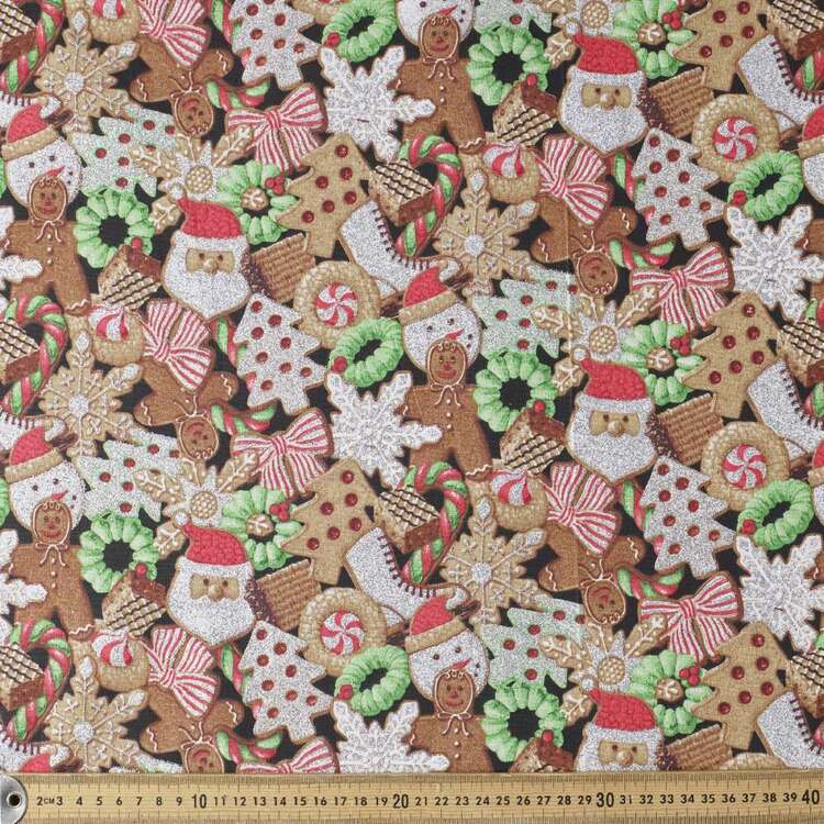 Christmas Glitter Gingerbread Printed 112 cm Cotton Fabric