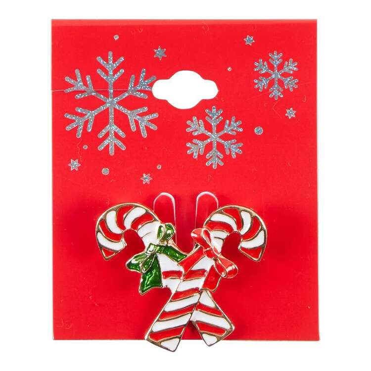 Maria George Candy Cane Christmas Brooch