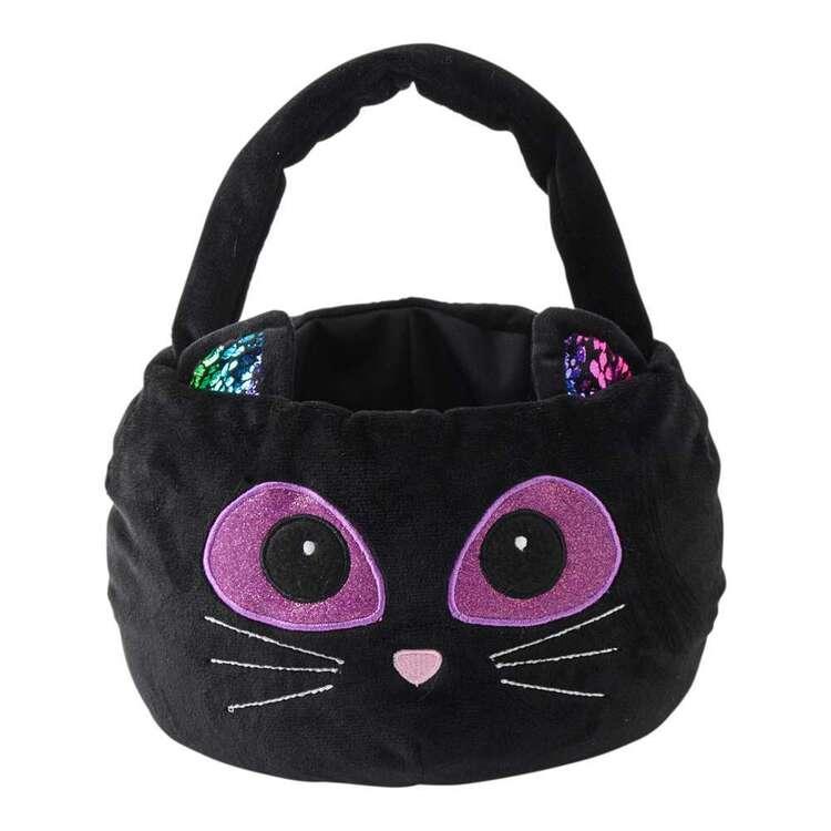 Spooky Hollow Plush Black Cat Treat Basket