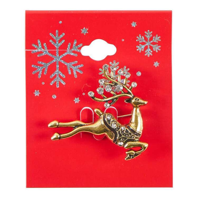 Maria George Leaping Stag Christmas Brooch