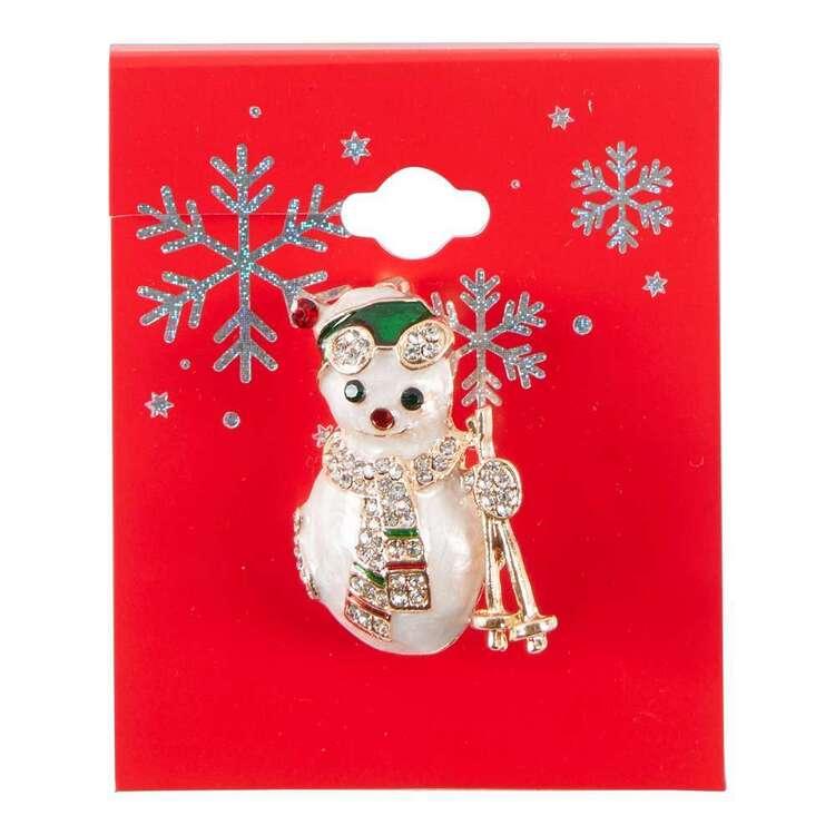 Maria George Skiing Snowman Christmas Brooch
