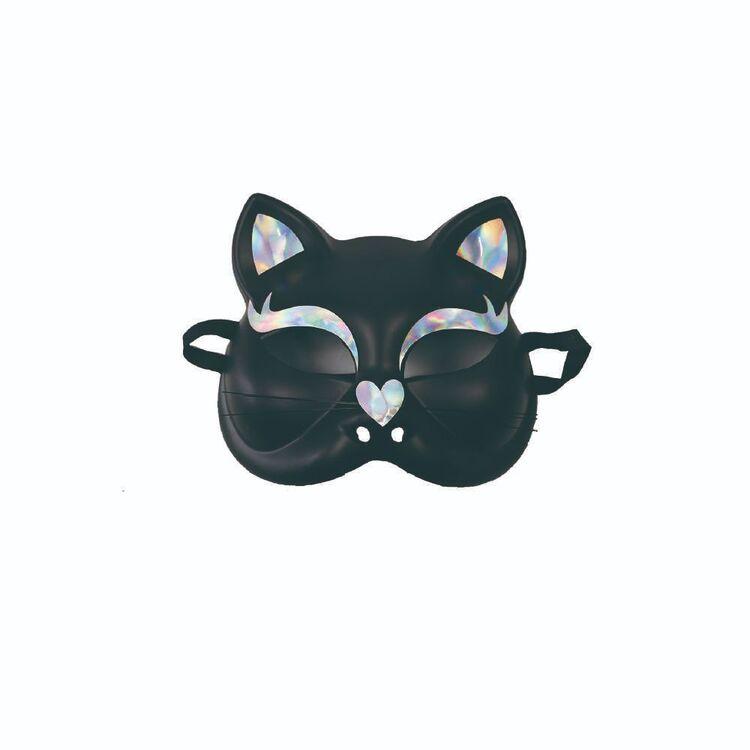Spooky Hollow Black Cat Half Mask